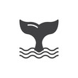 Whale tail icon vector, filled flat sign, solid pictogram isolated on white. Symbol, logo illustration