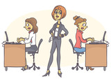 Female manager standing in determined pose, strictly looking around, scared workers working and typing all in stress. - 129406528