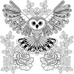 Zentangle stylized Black Owl with rose for adult anti stress col