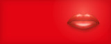 Advertisement horizontal Banner. Female lips on Red Background. Party Invitation and flyers. Sexual woman. Vector Illustration.