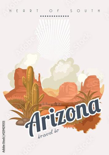 Arizona vector american poster usa travel illustration united arizona vector american poster usa travel illustration united states of america greeting card m4hsunfo