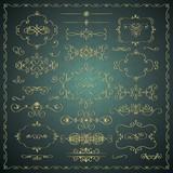 Vector Hand Drawn Decorative Golden Design Elements