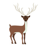 colorful silhouette with reindeer of long horns vector illustration