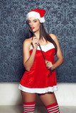 Sexy santa woman posing with whip