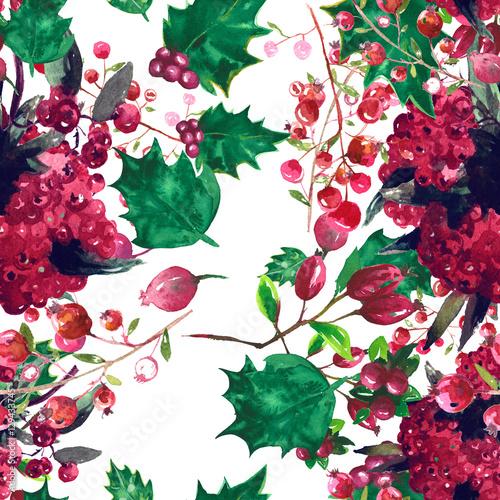 Materiał do szycia Christmas botanical watercolor pattern