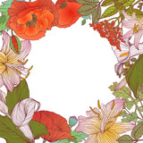 Floral frame of different flowers. Vector background