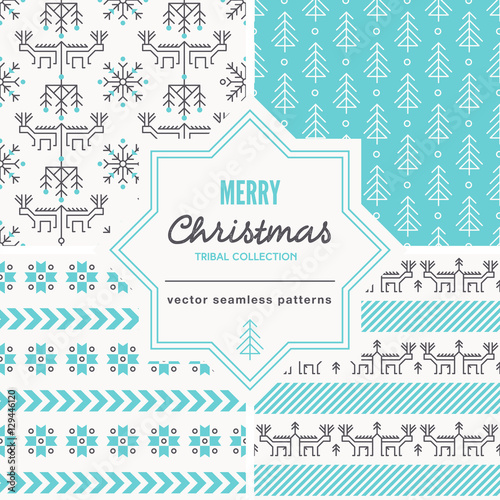 Christmas seamless patterns with outlined holiday and winter signs.