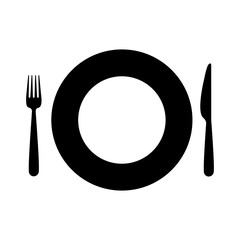black silhouette plate and pieces of cutlery vector illustration