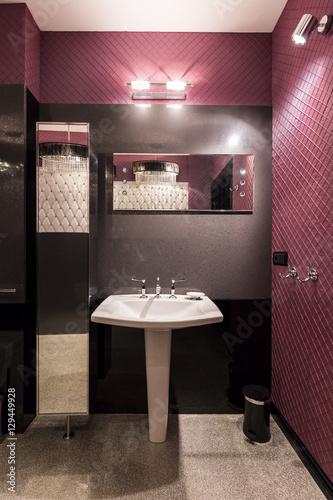 Poster, Tablou White sink in dark bathroom