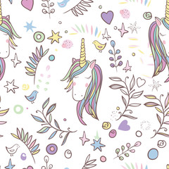 Unicorn Rainbow seamless pattern