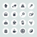 Cafe, Sweet, baked, desserts and coffee icons set