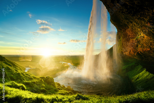 Seljalandfoss waterfall in summer time, Iceland - 129460744