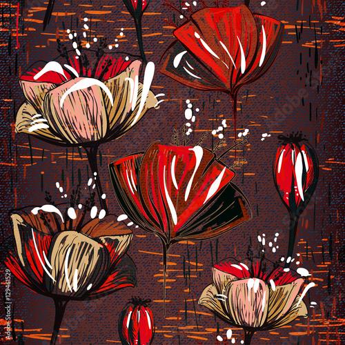Fototapeta Chocolate seamless pattern with tulips