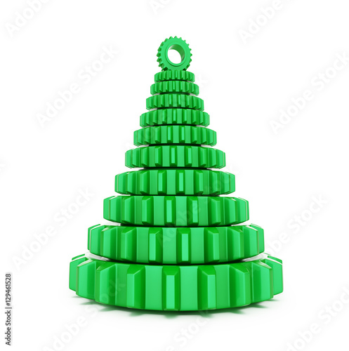 Poster fir tree from machine gear on a white background 3d Illustrations