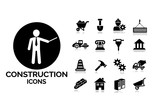 Construction and tools icons set 8.