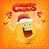 Merry christmas invitation card with smiley yellow face