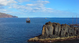 Two sailing boat and a boat in the ocean. Madeira, Funchal, Portugal