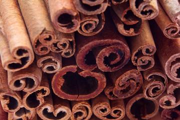 heap of cinnamon sticks as a background