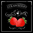 Vector card in vintage style. Stylized drawing with chalk on a blackboard with strawberry. - 129494704
