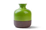 Fototapety Two-tone vase isolated. Ceramic vase on white background. Decorate house with shiny vase. Best pottery for home.