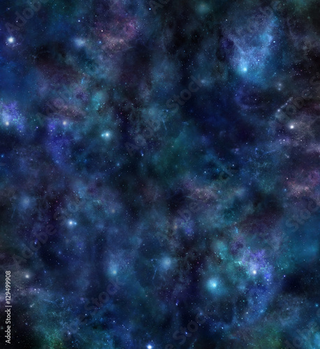 Naklejka Universe Background - large square dark blue deep space background with stars, planets, solar clouds, suns and different subtle colors