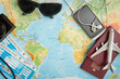 Business travel traveling map world concept.