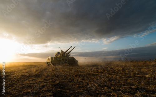 heavy tank in a field with two guns  © vukkostic