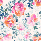 delicate pink watercolor like rose print - seamless background - 129502946