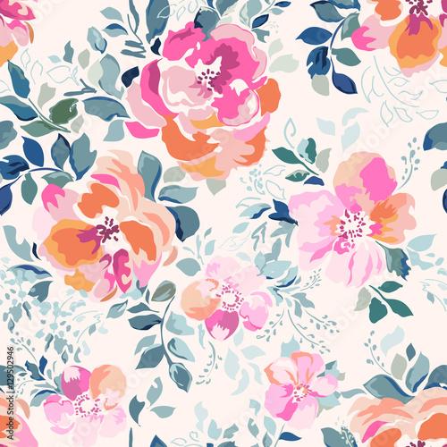 Tapeta delicate pink watercolor like rose print - seamless background
