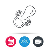 Pacifier icon. Nipple or dummy sign. Newborn child relax equipment symbol. Group of people, video cam and calendar icons. Vector