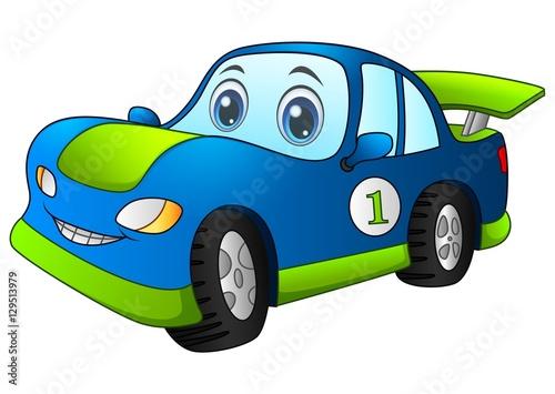 Fotobehang Auto Cartoon sport blue car