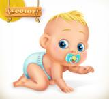 Cute kid. Baby. 3d vector icon