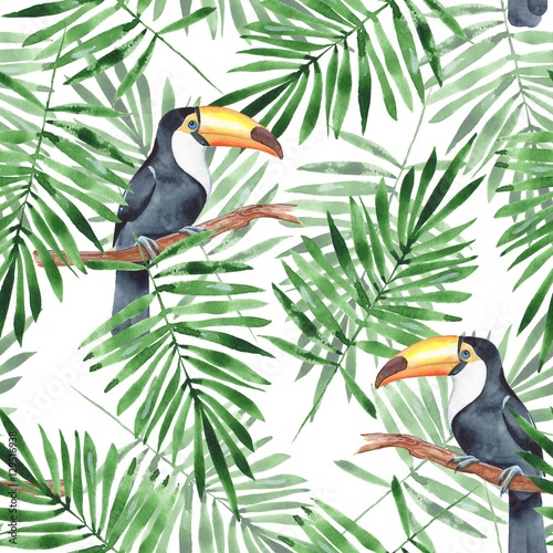 Materiał do szycia Palm leaves and Toucan. Watercolor seamless pattern 4