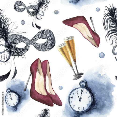 Cotton fabric Watercolor christmas party seamless pattern. New year party ornament with vintage clock, red high-heel shoes, glasses with champagne and mask with feather. Hand painted artistic design