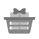 basket shop with gift box ribbon gray color vector illustration eps 10
