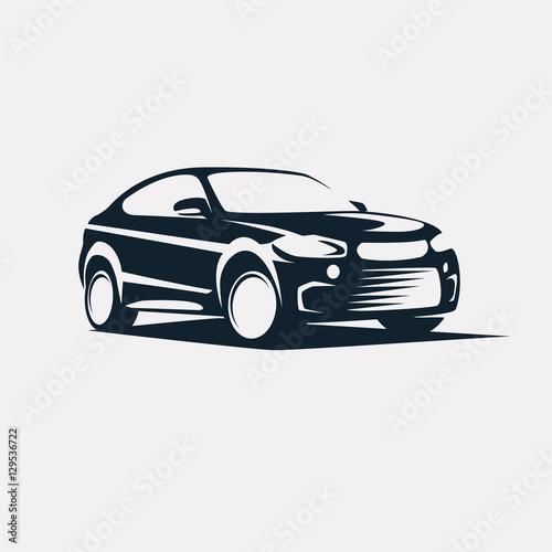 Fototapeta Car symbol logo template, stylized vector silhouette
