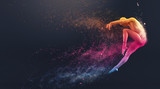Fototapety Abstract colorful plastic human body mannequin with scattering particles over black background. Action dance jump ballet pose. 3D rendering illustration