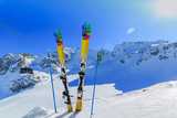 Ski winter season - mountains, cable car and ski equipments on s