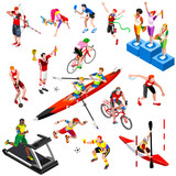 Sport isometric set with sportsmen of ball olympic games competition athletics isolated podium vector illustration