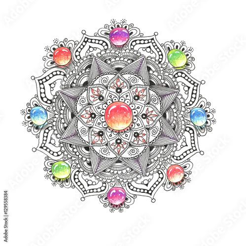 Mandala colorful watercolor with jewel stones.
