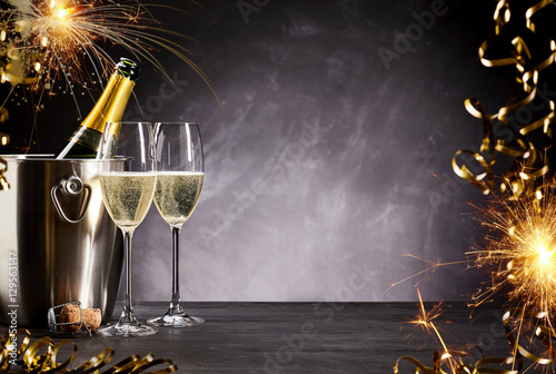 Romantic celebration with sparklers and champagne
