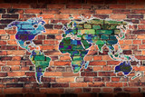 World Map on Brick