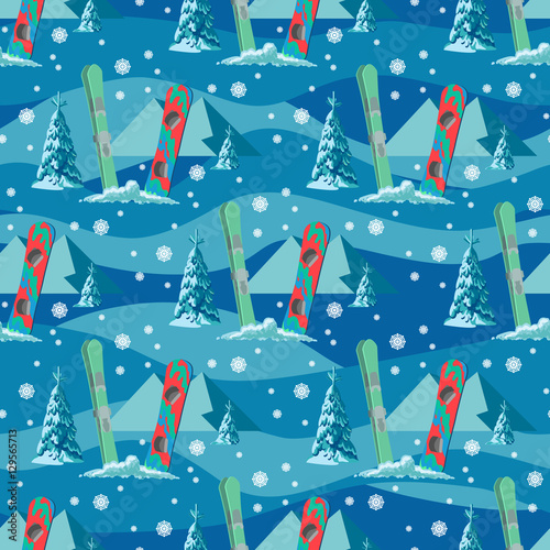 Materiał do szycia Vector hand drawn seamless pattern of ski, poles and pine in snow