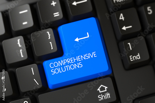 Keyboard with Blue Button - Comprehensive Solutions. 3D.