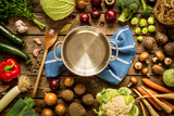 Fototapety Cooking - empty pot with autumn (fall) vegetables around