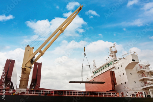 Poster Steel industry shipping at port