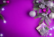 Purple Christmas background with a present