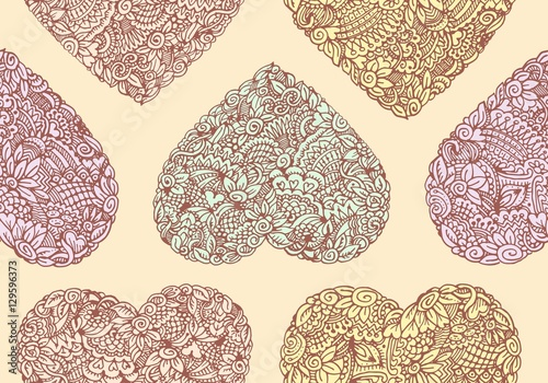Cotton fabric Seamless background with symbols of the heart