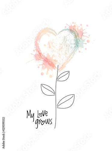 wektorowy-akwarela-kwiat-w-formie-serce-z-plusnieciem-kolorowe-bloty-moja-milosc-rozwija-fraze