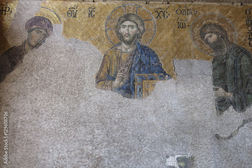 Poster Mosaic with the representation of Christ Pantocrator. Hagia Soph